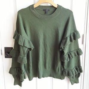 J. Crew Ruffle Sleeve Wool Acrylic & Nylon Sweater